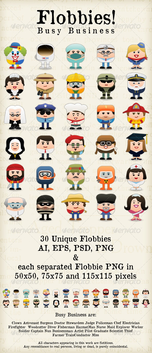 Flobbies! Busy Business - People Characters