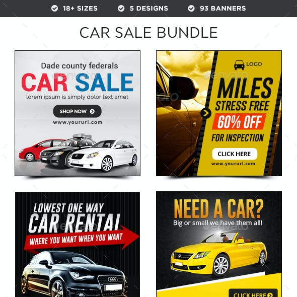Car Sale Banners Bundle - 5 Sets - 93 Banners