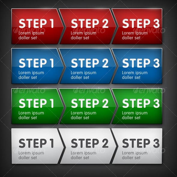 3 Step Process in 4 Colors - Buttons Web Elements