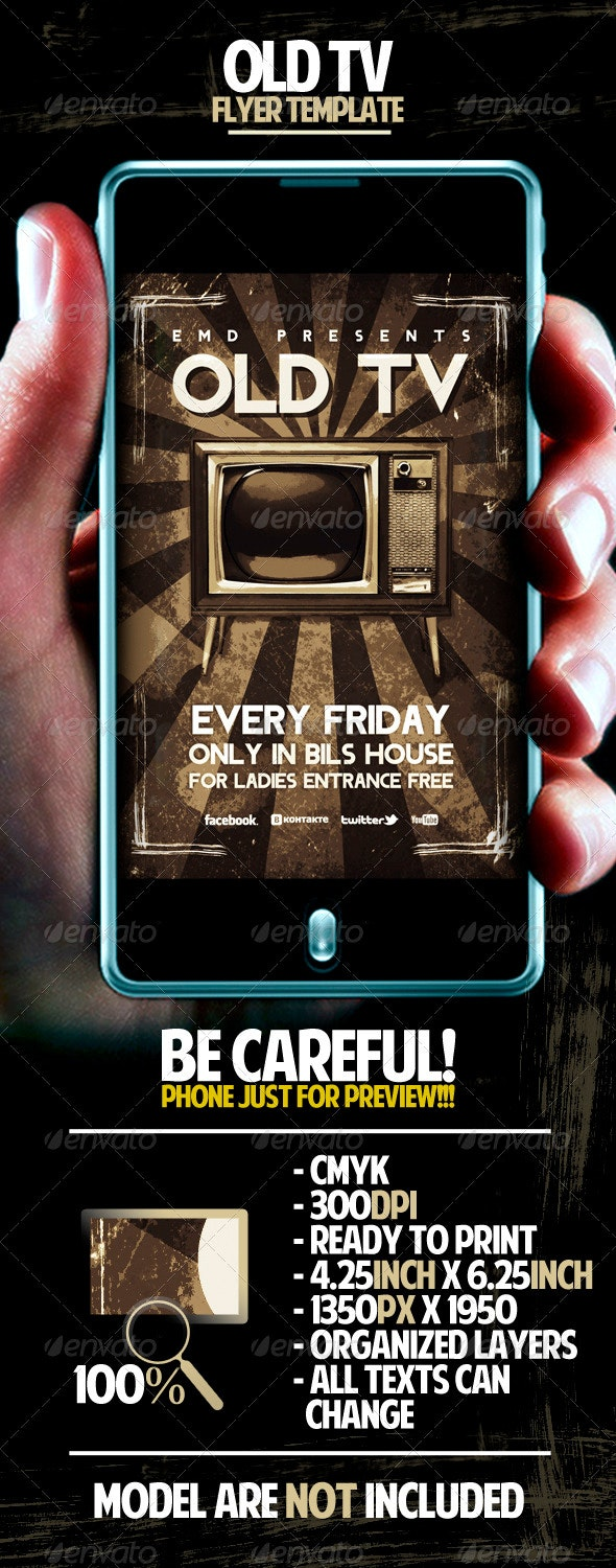 Old TV Flyer Template - Clubs & Parties Events