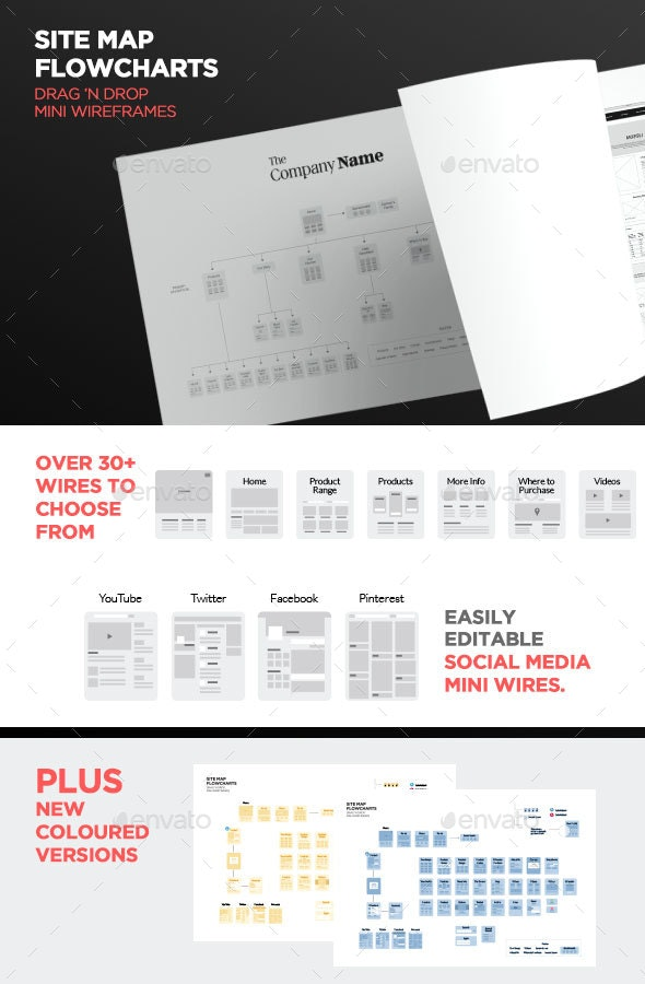 Simple Web Flowchart, Mini Wireframes or Sitemap - Infographics