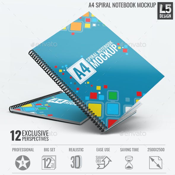 A4 Spiral Notebook Mock-Up