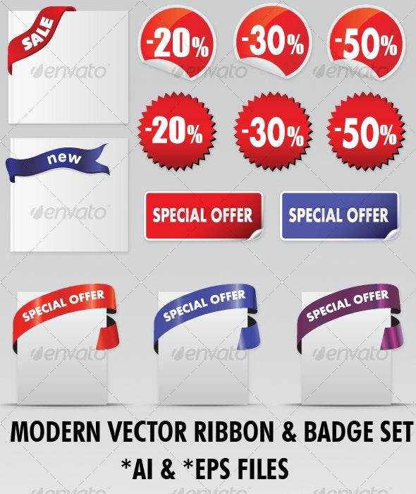 Trendy Vector Ribbon & Badge Set - Decorative Graphics