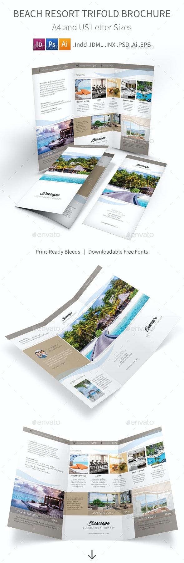 Beach Resort Trifold Brochure 2 - Corporate Brochures