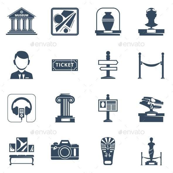 Museum Flat Black Icon Set - Web Icons