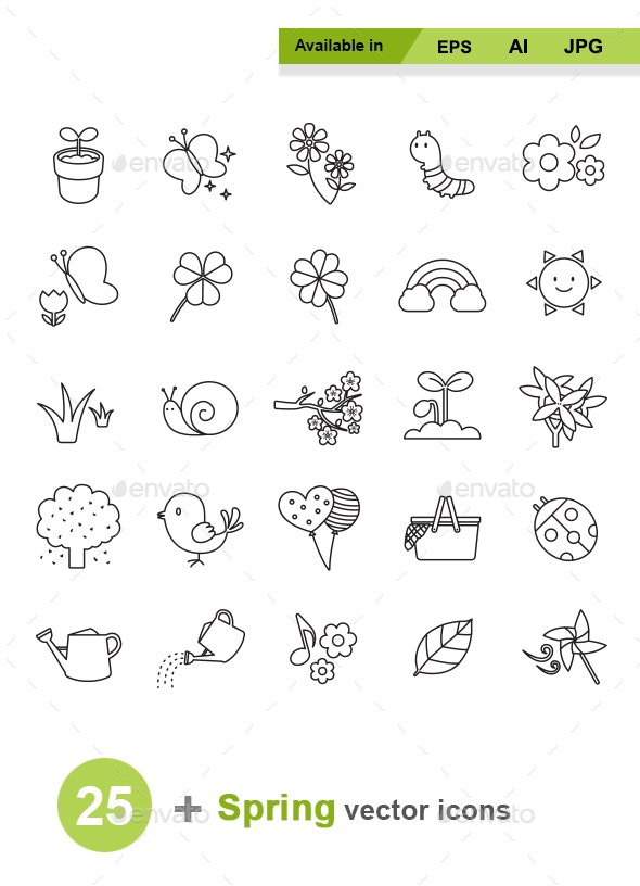 Spring Outlines Vector Icons - Seasonal Icons