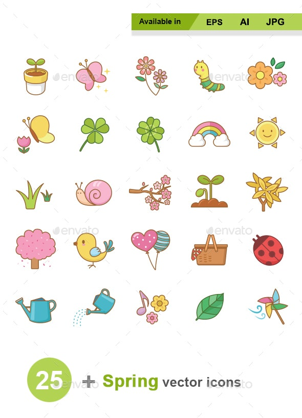 Spring Color Vector Icons - Seasonal Icons