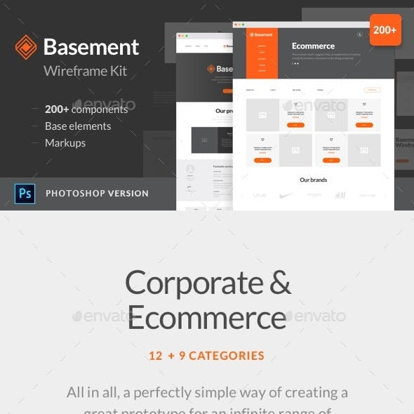 Basement Wireframe Kit: 200+ Components for Photoshop