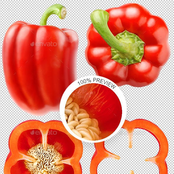 Collection of Isolated Red Bell Pepper photos