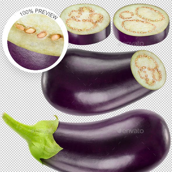 Collection of Isolated Eggplants Photos