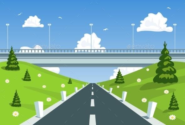 Highway Under the Bridge - Travel Conceptual