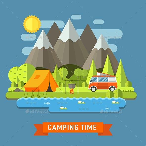 Camping Travel Landscape Flat