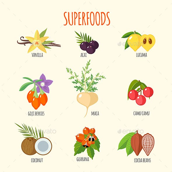 Set of Superfoods in Flat Style