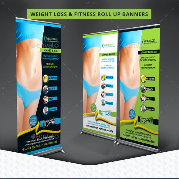 Weight Loss & Fitness Roll Up Banners