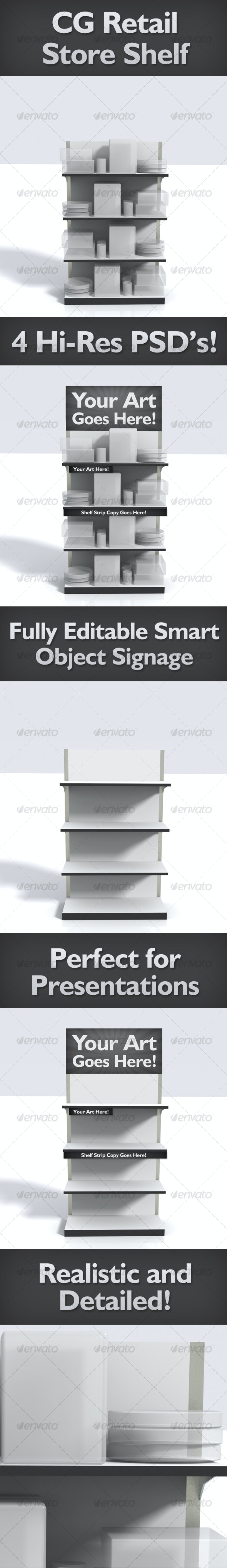 Realistic CG Retail Shelves - Product/Signage - Objects 3D Renders