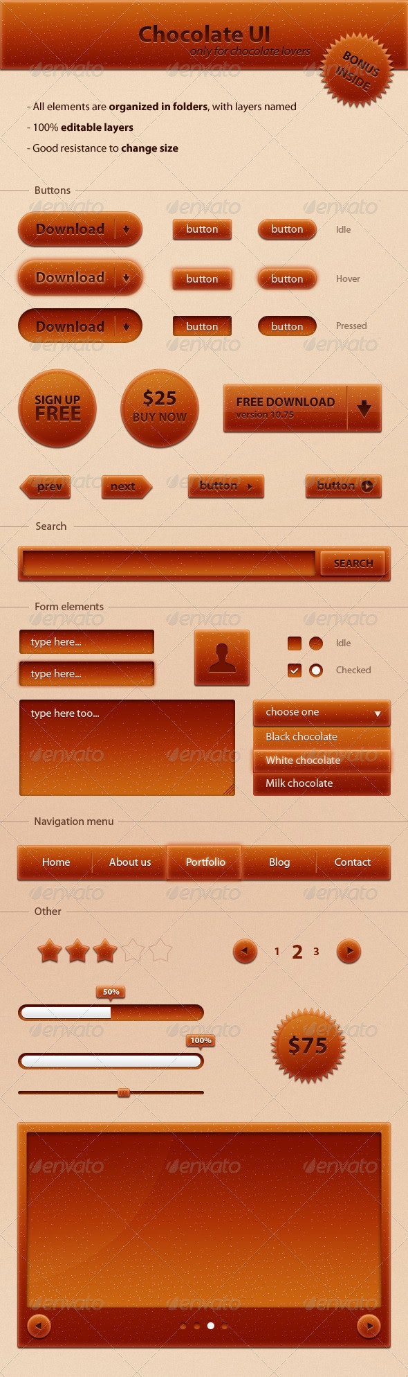 Chocolate UI - Buttons Web Elements