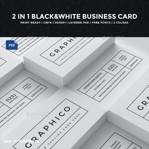 2 in 1 Black & White Business Card - 60
