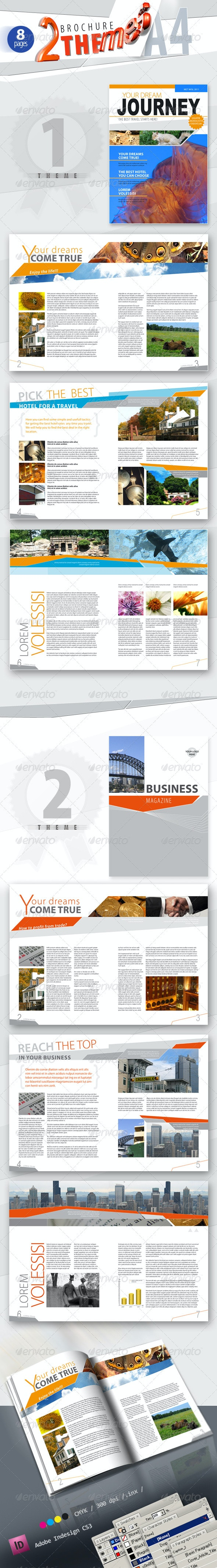 A4 Brochure / Magazine in 2 Themes & 2 Color Scheme - Magazines Print Templates