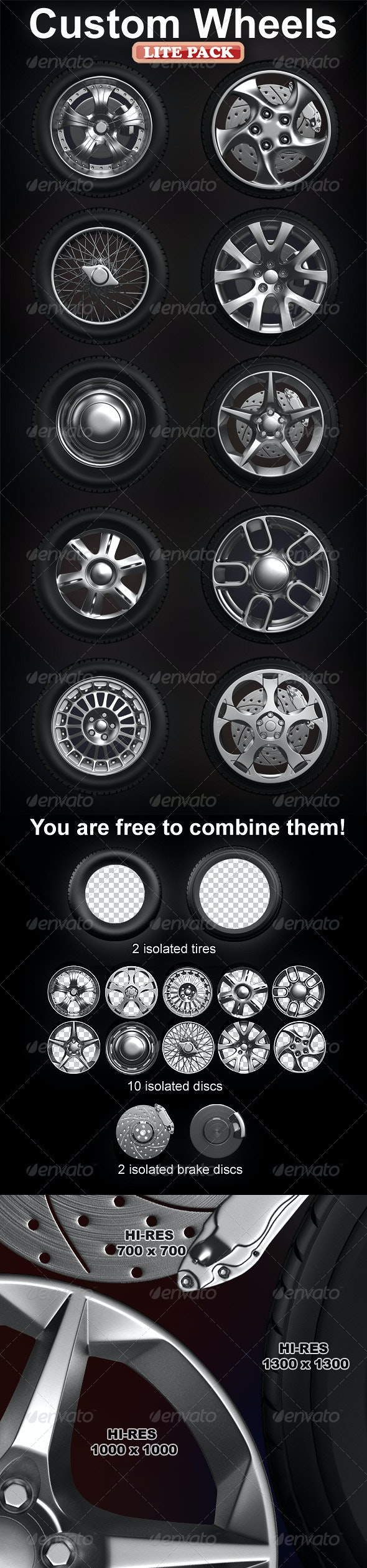 Isolated custom wheels pack (2 tires, 10 discs) - Objects 3D Renders