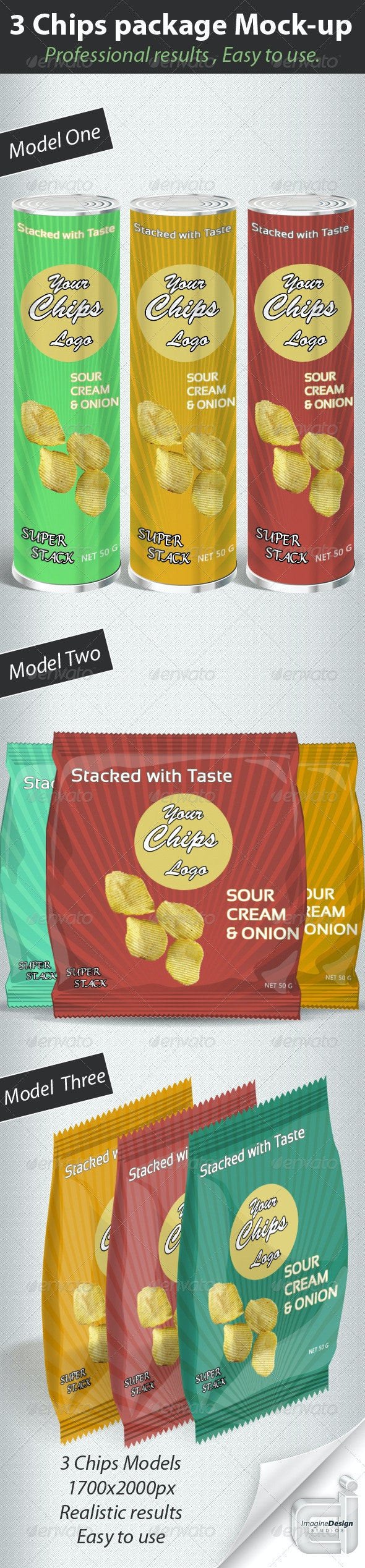 3 Chips packages Mock-up - Food and Drink Packaging