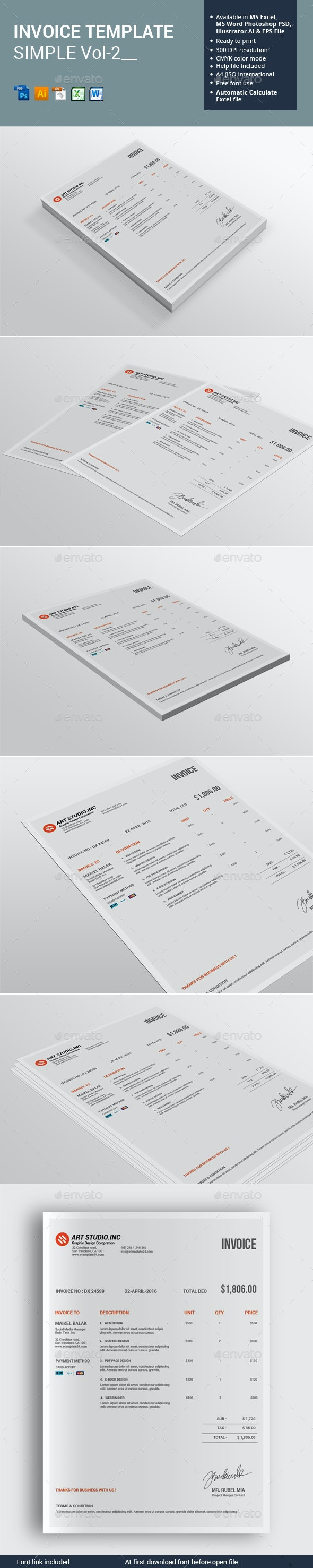 Invoice Template Simple - Proposals & Invoices Stationery