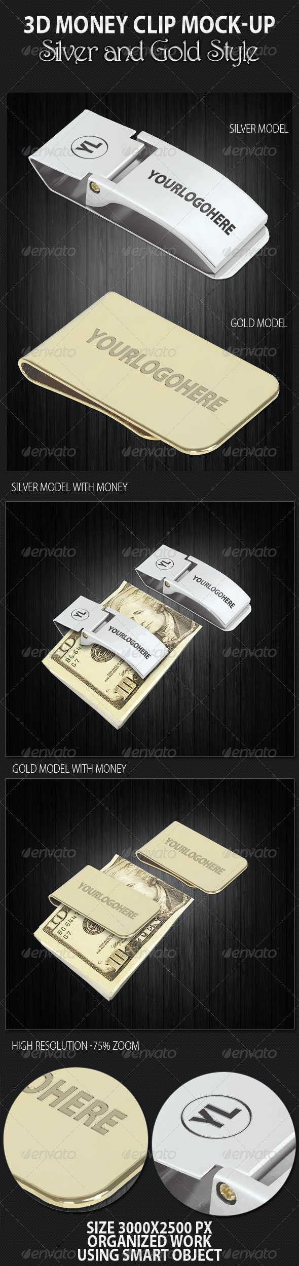 3D Money Clip Mock-up - Miscellaneous Product Mock-Ups