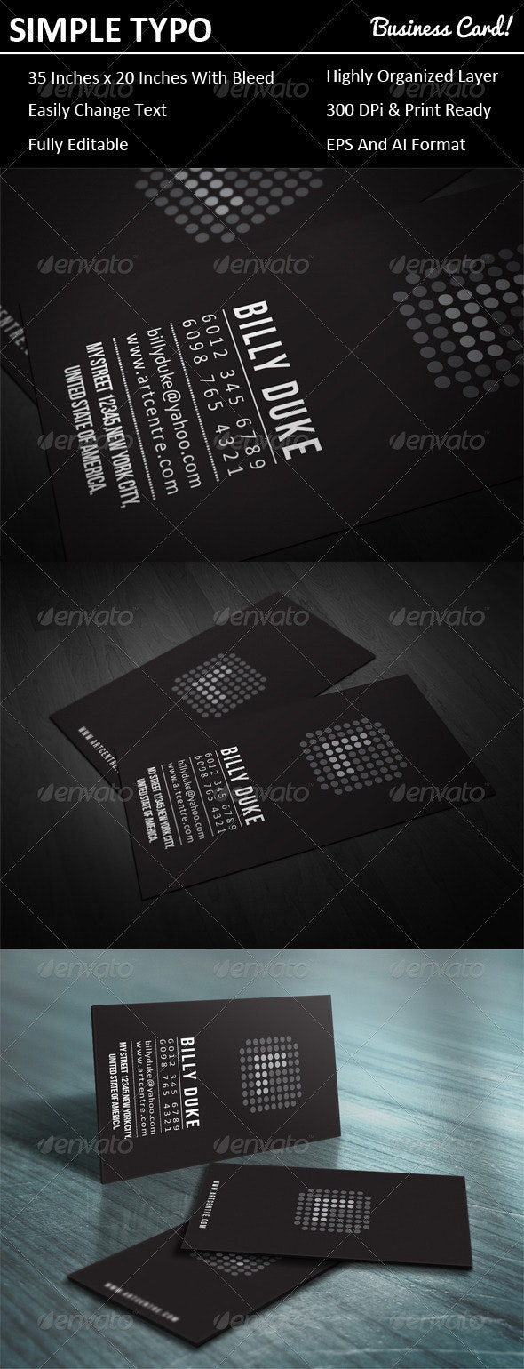 Simple Typo Business Card - Creative Business Cards