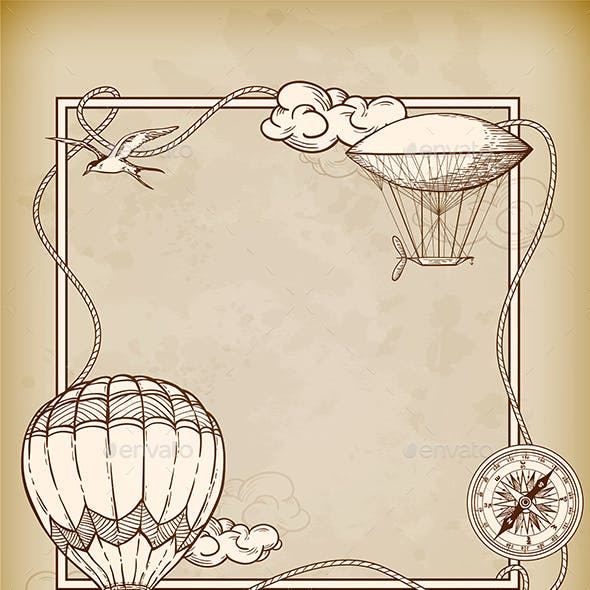 Vintage Frame with Air Balloons