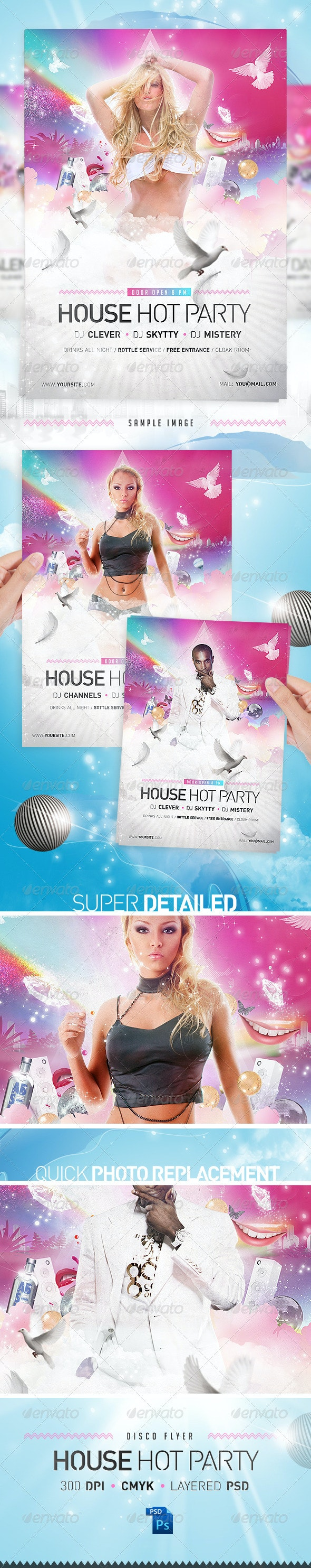 House Party Disco Flyer Template - Clubs & Parties Events