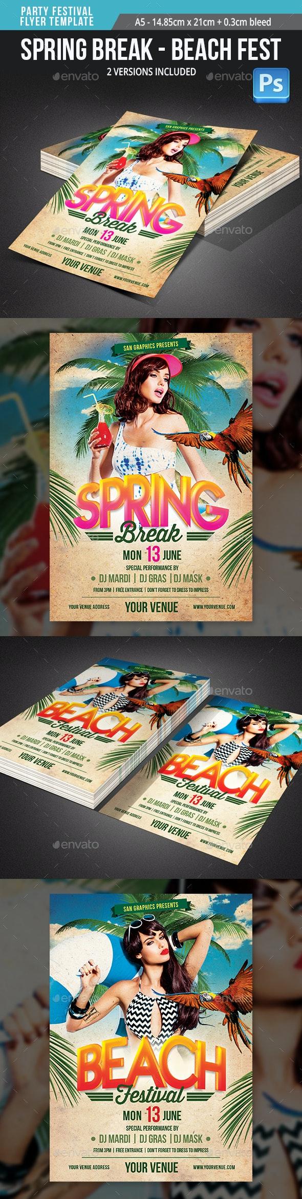 Spring Break Summer Beach Festival Flyer Template - Flyers Print Templates