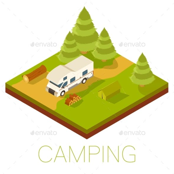 Camping Isometric Banner