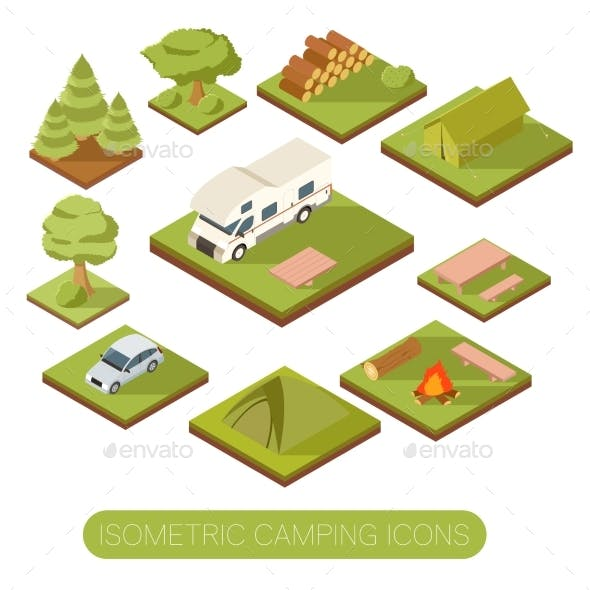 Set of Isometric Camping Icons