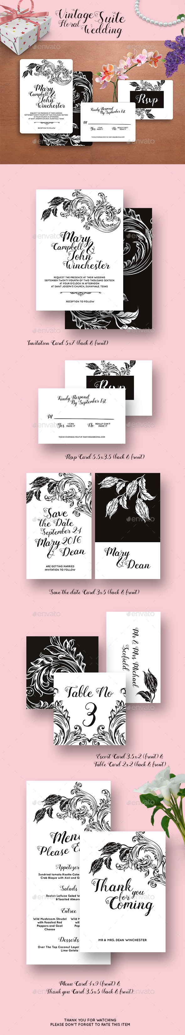 Vintage Floral Wedding Invitation Suite - Weddings Cards & Invites