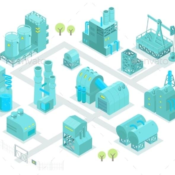 Set Factory Isometric Illustration Oil Production