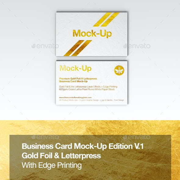 Luxury Gold Foil & Ink Letterpress Business Card Mock-Up