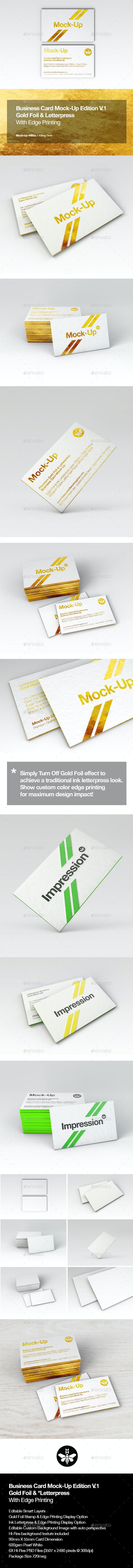 Luxury Gold Foil & Ink Letterpress Business Card Mock-Up - Business Cards Print