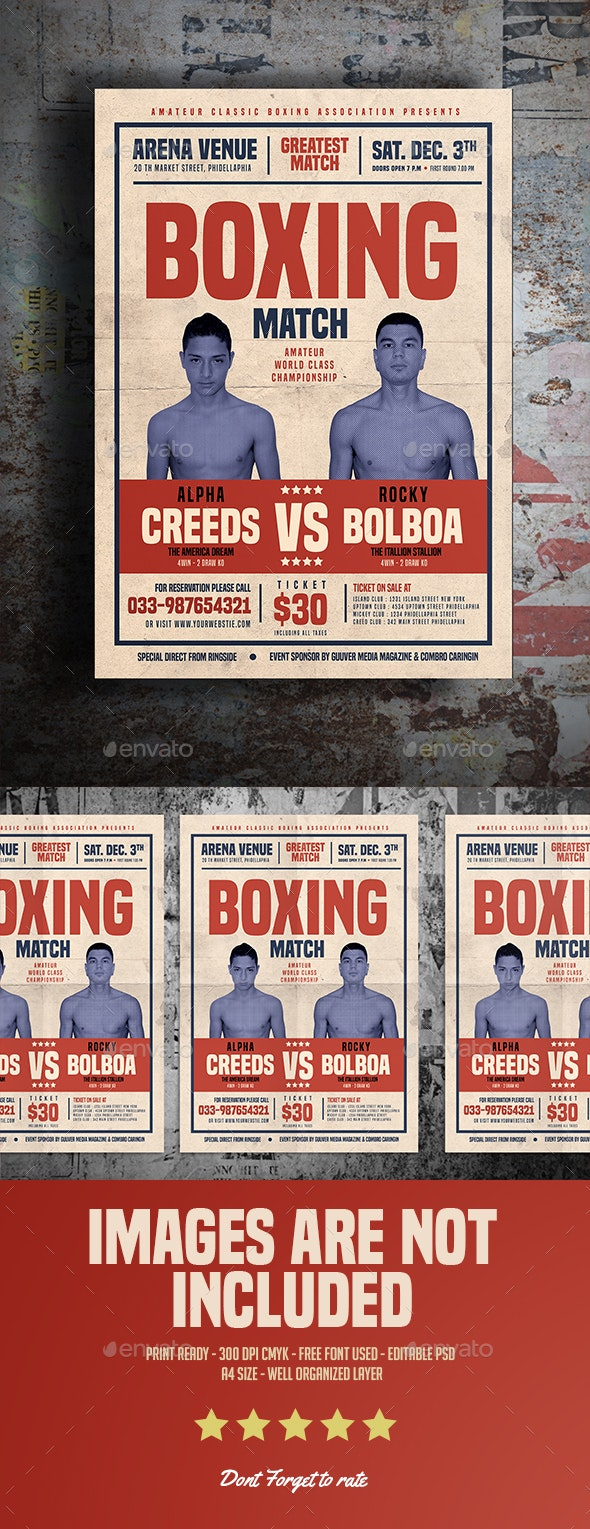 Old Vintage Boxing Flyer - Sports Events