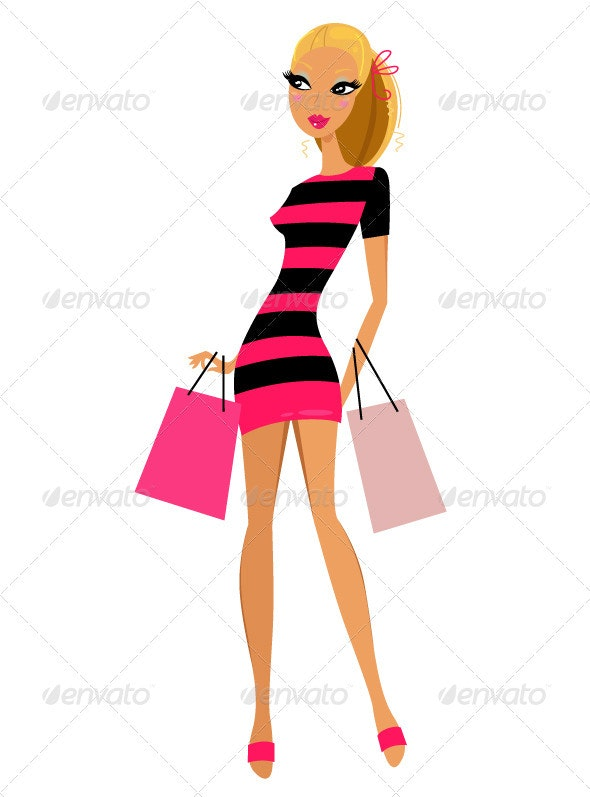 Blond shopping woman isolated on white background - People Characters