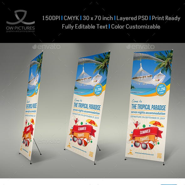 Tour and Travel Signage Roll Up Banner Template