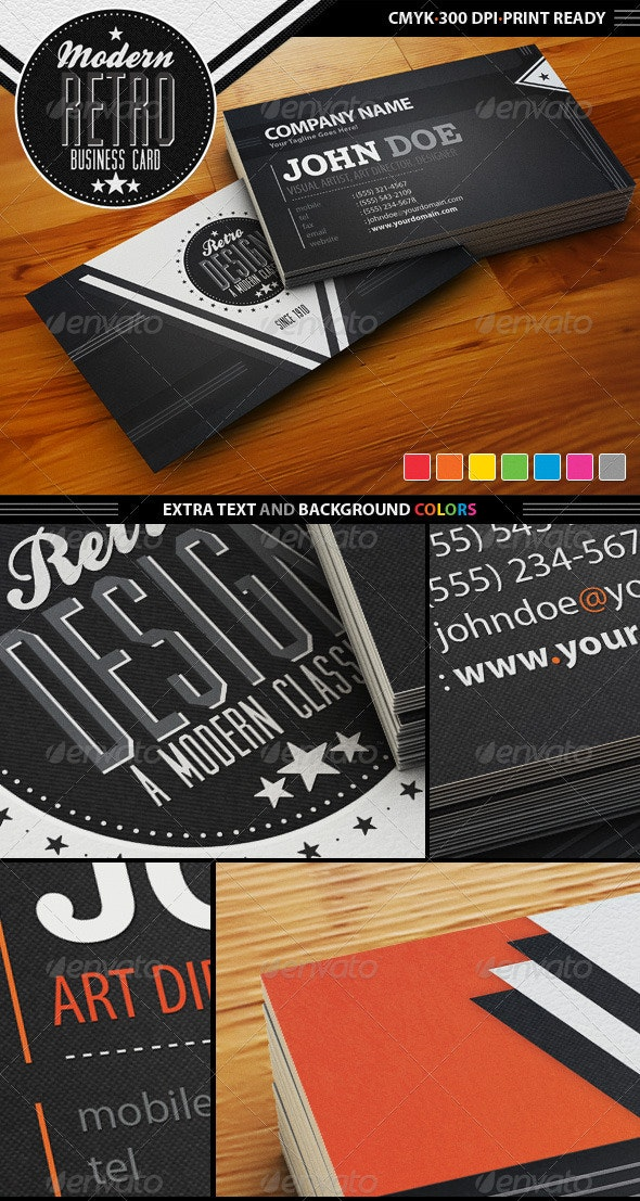 Modern Retro Business Card - Creative Business Cards