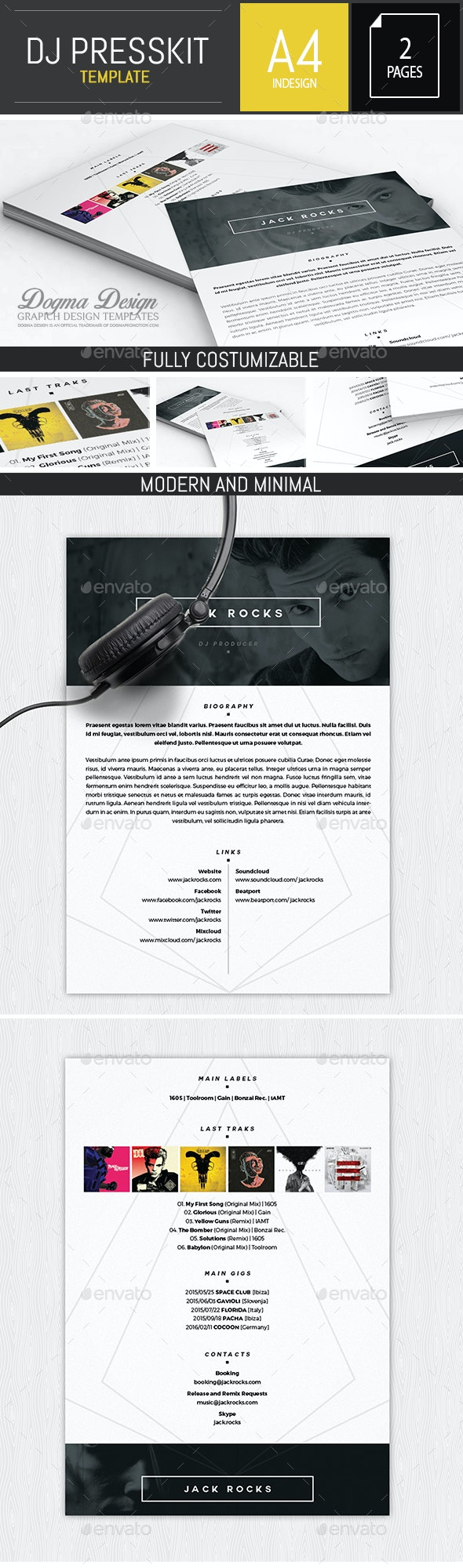 Musician / Dj Press Kit / Resume InDesign Template - Resumes Stationery