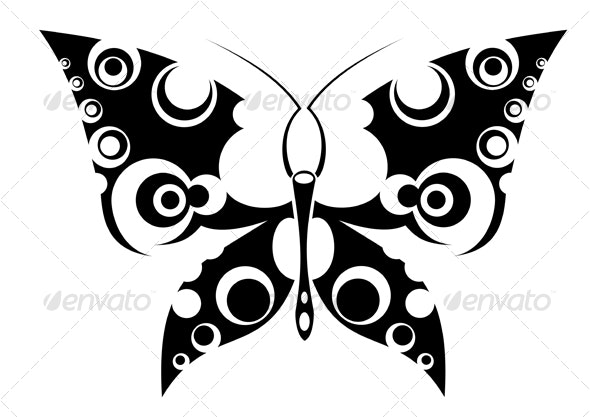 Butterfly tattoo isolated on white - Tattoos Vectors