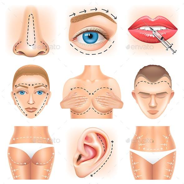 Plastic Surgery Icons Vector Set