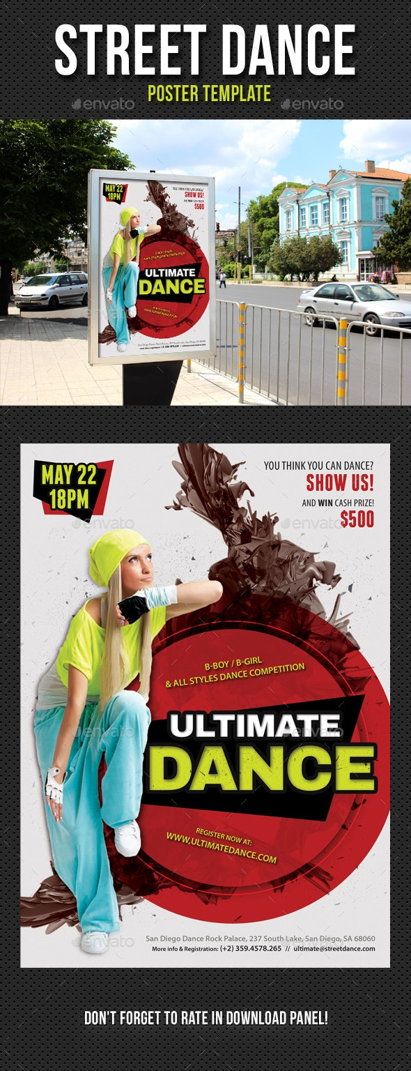 Street Dance Competition Poster Template - Signage Print Templates