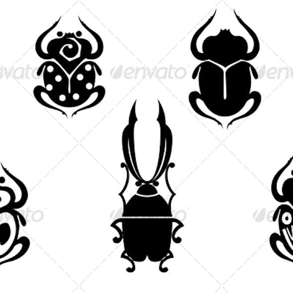 Set of black beetles
