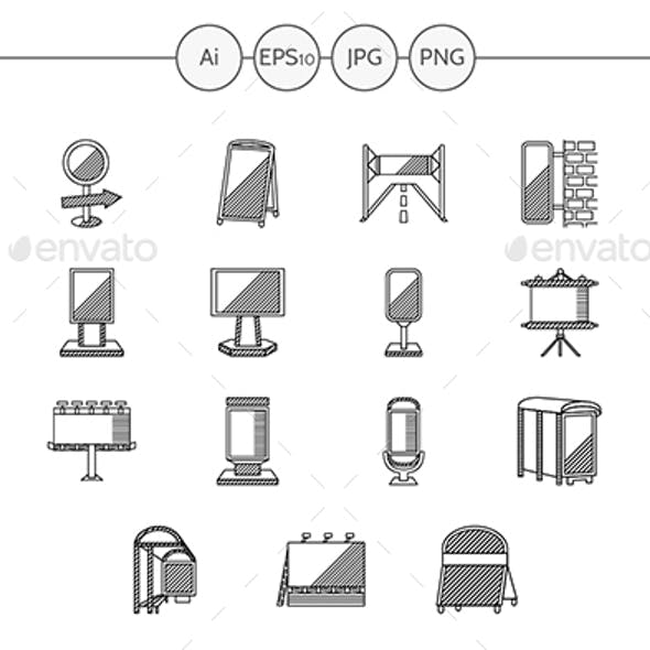 Outdoors advertising flat line vector icons