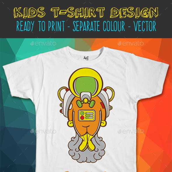 Astronaut Funny Kids T-shirt Design