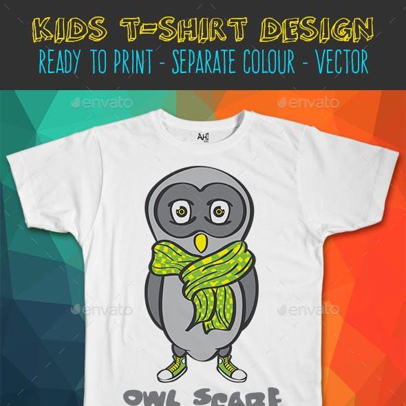 Owl Scarf Funny Kids T-shirt Design