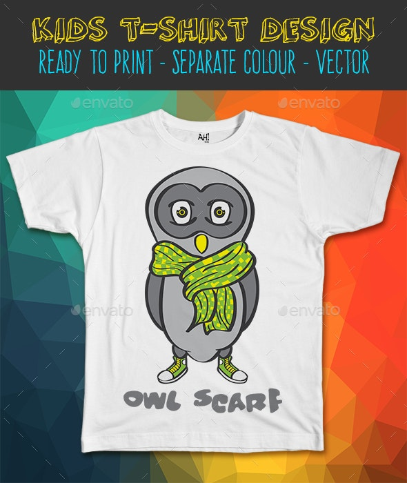 Owl Scarf Funny Kids T-shirt Design - Funny Designs
