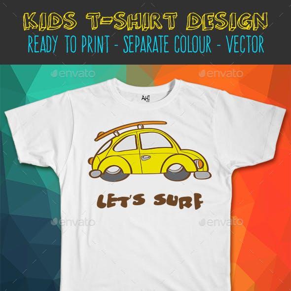 Surf Car Funny Kids T-shirt Design
